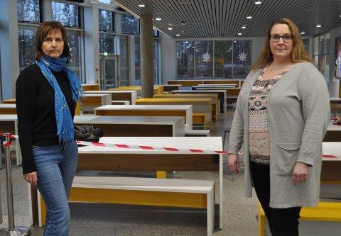BEKYMRING: Lærerne Heidi Høiby (t.v) og Elin Ek Larsen (t.h) ved Rygge ungdomskole forteller at både lærere, elever og foresatte er bekymret nå, og st noen har valgt å søke om hjemmeundervisning fram til jul.