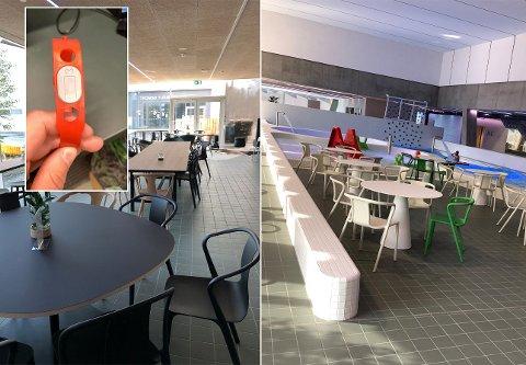 ARMBÅND MED PENGER: Ved hjelp av et armbånd (innfelt) vil de badende gjestene kunne betale i kafeen, forklarer kafésjef Stina Elisabet Sandeggen på Tromsøbadet.