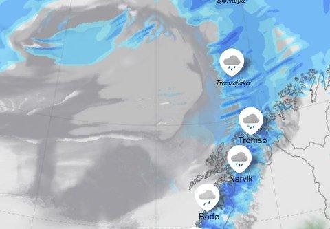 LAVTRYKK: Prognose for tirsdag. Her kommer det både vått og tørt.