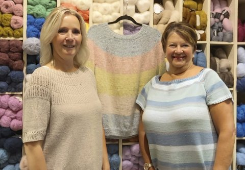 Familiebutikk: Datter Bente Sørlie (48) og mor Åse Brit Sjøberg (67) driver City garn og broderi sammen, og sier til PD at strikke-sporten har tatt mer og mer av i det siste.