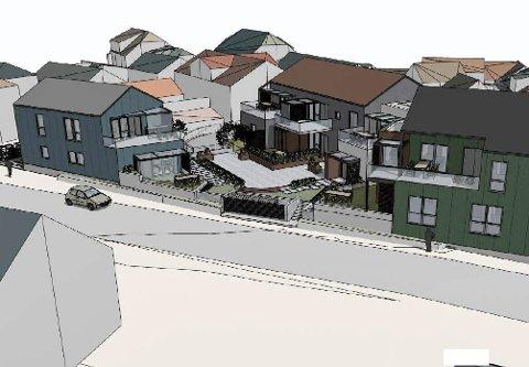NYE LEILIGHETER: Sånn kan eiendommen, sett fra vest, bli seende ut. Arkitekt og utbygger sier de forsøker å tilpasse seg til eksisterende bygningsmiljø på Osebakken og ber om møte med kommunen.