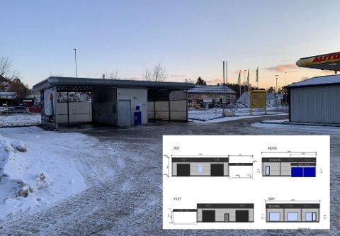 SKIFTES UT: Dagens selvvaskehall på Herøya ble bygd tidlig på 2000-tallet. Nå vil dansk vaskegigant rive og bygge nytt på eiendommen i Fjordgata 13. Foto (innfelt): Complete solutions.