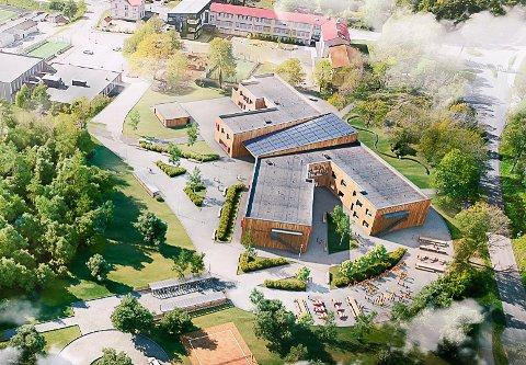 TREVERK: Nye Tveten ungdomsskole bygges i heltre, og settes sammen av moduler som produseres på andre lokasjoner. Den nye storskolen skal stå ferdig til utgangen av 2022, og skal ta imot elever fra Tveten, Stridsklev og Herøya.