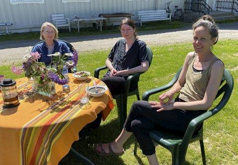 GLEDER SEG: Hanne Ekkeren, Sarah Jost og Sive Hamilton Helle er tre av kunstnerne som tar del i Greenlightdistrict-festivalen. De har denne uka inntatt Prestegårdshagene Andelsgård på Eidanger for å finne inspirasjon til arbeidet med utstillingen Wood & Clay.