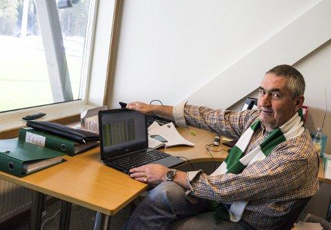 Svein Lafton er ansvarlig for at kontoen i HBK-budsjettet fylles med sponsorkroner. Lafton håper å være i mål før serieåpningen 11. april.
