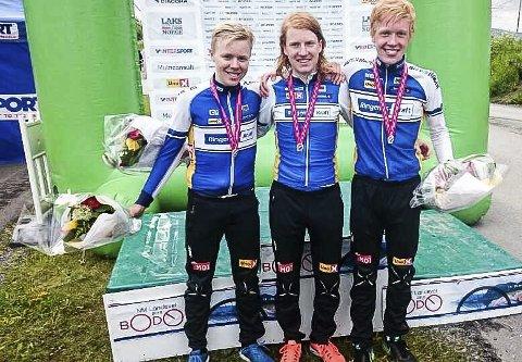 Ringerike sykkelklubbs Andreas Leknessund, Tore Andre Vabø og Sindre Kulset sikret NM-sølv i lagtempo i juniorklassen i Bodø.