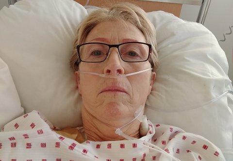 INNLAGT: Lisbet Sandland var innlagt på sykehus i over tre uker, og var deretter fem uker på rehabilitering på Stamina. Foto: Privat