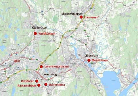 TYVERITOKT: Sju av biltyveriene skal ha funnet sted på Nedre Romerike. (Furuveien har fått navnet Furuholtet i nye Lillestrøm kommune) (Kart: 1881.no/RB-grafikk)