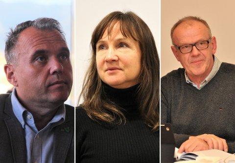 ORDFØRERNE: Ordfører i Forsand, Bjarte Dagestad, ordfører i Strand, Irene Heng Lauvsnes og ordfører i Hjelmeland, Bjørn Laugaland.
