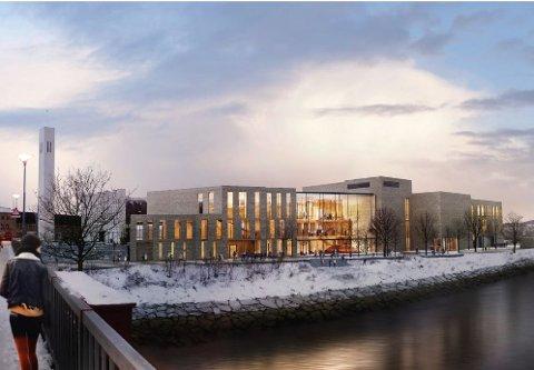 Slik blir utsikten fra brua når det nye kulturhuset står ferdig i 2023.