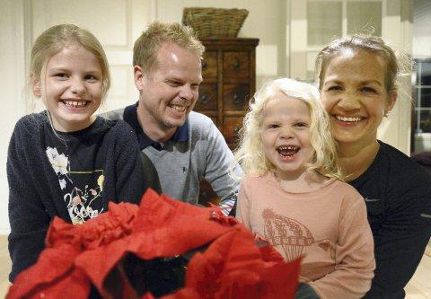 CHRISTIAN OG JENTENE: Christian Michelsen sammen med kona Ida og barna Mina Sofie (til venstre) og Mathea.