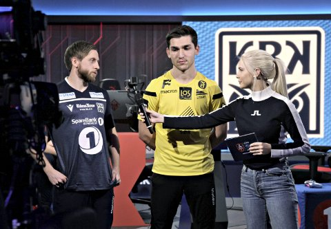 Klar for finale: Sindre Ohrstrand ble intervjuet av Eurosports Amalie Snøløs etter seieren mot Start tidligere i år. I helga er det finalespill i Bergen. KBK er blant outsiderne, men satser på å gjøre det best mulig.foto: henrik aasbø