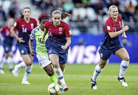 Scoret: Guro Reiten scoret det første norske målet da Norge vant mot Nigeria i VM.