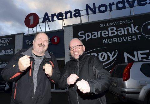 Klar med ny messe: Alf Iversen (til venstre) og Oskar Kvam Olsen i Nordvest Event AS skal i slutten av august arrangere fritidsmesse i Arena Nordvest. Både frivilligheten, kommuner og kommersielle aktører skal få presentere seg i skøytehallen.