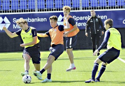 Cup er neste: Bendik Brevik (fra venstre), Sander Erik Kartum, Oskar Sivertsen, Liridon Kalludra og KBK forbereder seg denne uka til cupkamp mot Volda.