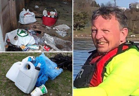 SØPPEL PÅ ØYA: Da Sven-Erik Johannessen var på kajakktur ut til Masseløyfant han søppel på store deler av øya.