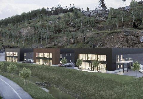 Næringsbygget til høyre i denne illustrasjonen sto ferdig i fjor. Nå skal de to andre byggene oppføres. Byggesøknaden er nå til behandling hos Tvedestrand kommune. (Illustrasjon fra A67 Invest)