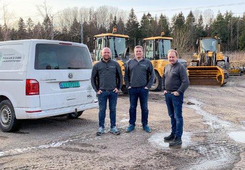 GODE RESULTATER: Håkonsen og Sukke Landskapsentreprenør  AS flyter på en medgangsbølge. Her er de tre eierne (fra venstre): Brede Sukke, Tommy Lier og Roar Håkonsen.