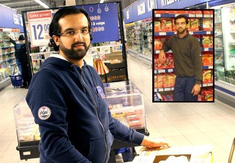NÅDDE DRØMMEN: Safeer Ahmed (35) har oppnådd drømmen om å bli kjøpmann på den lokale butikken der han vokste opp. Bildet til høyre er fra tidligere i karrieren da han var 23 år. Allerede da hadde drømmen formet seg.
