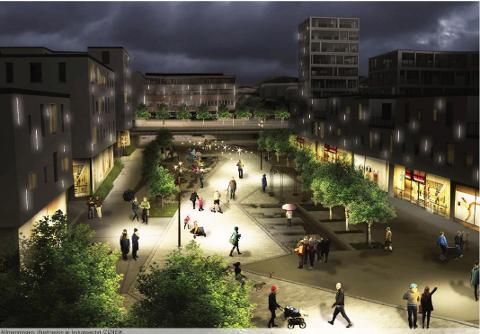 Knarvikplanen legg opp til at store områder skal brukast til både handel og bustader, og ønsker ein allmenning i sentrum.