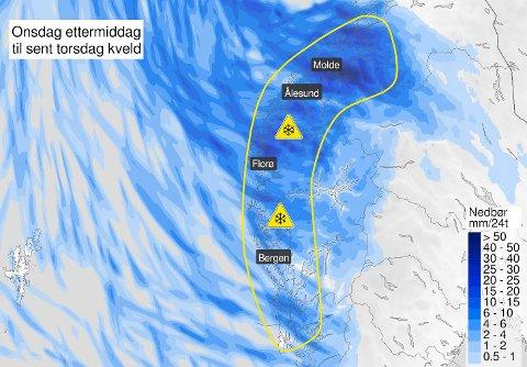 Meteorologisk institutt har sendt ut farefarsel på snø for heile Vestlandet.