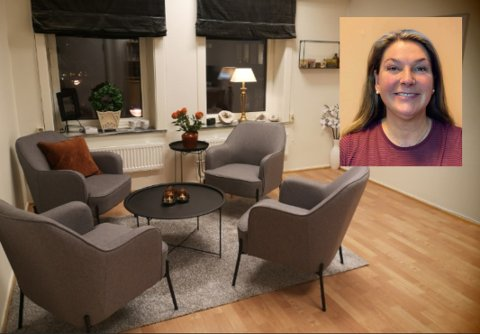 Etter litt leting fant Kirstin drømmelokalene i Storgata i Bodø. Her åpner kundene hennes opp om sin psykiske helse.