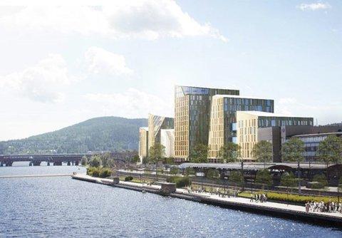 FÅTT NAVN: Quality River Station Hotel blir navnet på det nye 14 etasjer høye hotellet ved Drammen stasjon.