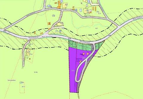 Planområdet for reguleringsplanen Nyeng er det lilla området på kartet langs Meieriskauveien. Der var det tidligere bilopphoggeri.
