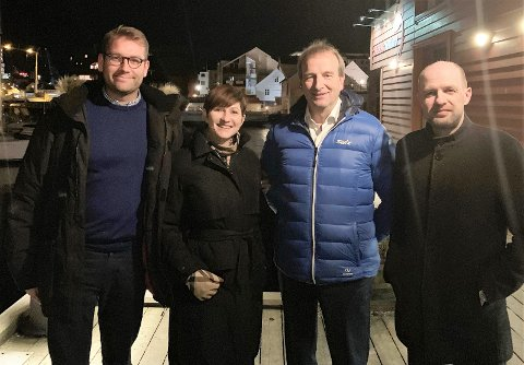 KVARTETTEN: Gruppeleiarane Jacob Nødseth (V), Hanne Husebø Kristensen (H),  Gustav Johan Nydal (KrF) og Frank Willy Djuvik (FrP) er blitt samde om det siste budsjettet i Flora bystyre.