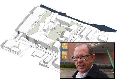 ENTEN, ELLER: Utvidinga av Amfi i retning Firda Billag er avhengig av nok eit brot på Førde kommunen sine planlagde gatelinjer og kvartalstruktur.