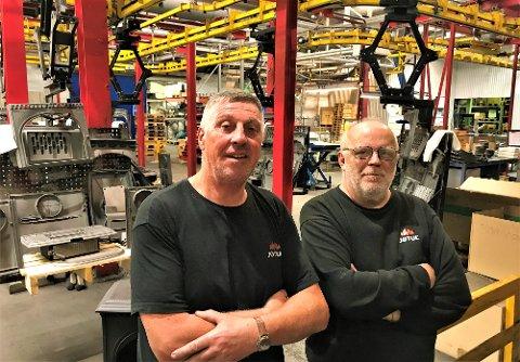 NÆR: Truls Bertelsen (60) og Tommy Nilsen (60) blir dessverre passert av industridøden på oppløpet av et langt arbeidsliv.
