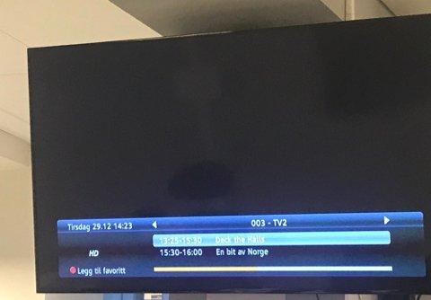 NEDE: TV 2s kanaler er svarte for tusenvis av TV-kunder tirsdag ettermiddag. Foto: Nina Lorvik