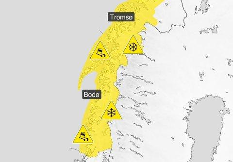 MYE VÆR: Vind, mye nedbør i form av både snø og regn vil skape en del trafikale utfordringer over store deler av Nord-Norge de neste dagene.