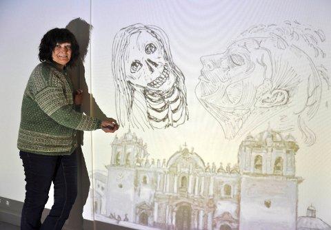PÅ VEGGEN: Kunstneren skal tegne direkte på en vegg i Galleri Galleberg.