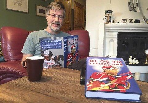 NY BOK: En bok for idrettsnerder og for dem som liker idrettshistorie. Kjell-Ivar Petterson er i bedring etter et slag og er bokaktuell samtidig.FOTO: BÅRD ENGH