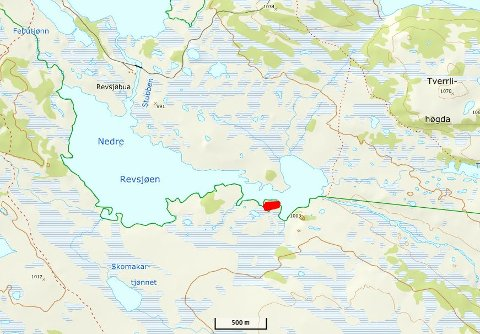 Det røde feltet markerer hvor brannen var - på sørbredden av Nedre Revsjøen.