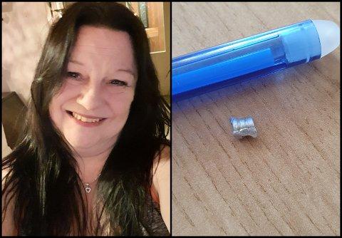 METALL I MATEN: Heidi Pedersveen Lie fant en metallbit i søndagsfrokosten sin.