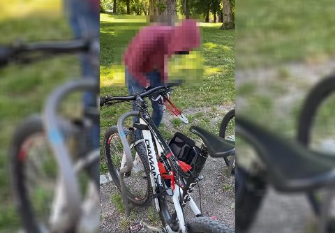 FERSKET: Sykkeltyven la tangen tilbake i sekken og forsvant etter at han forsøkte å stjele sykkelen til Even.