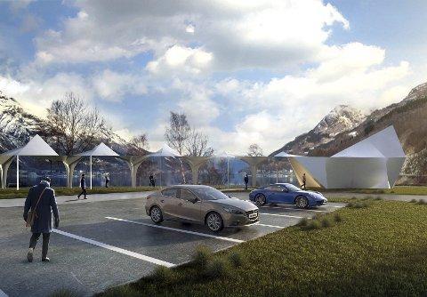 Espenes: Slik skal den nye rasteplassen langs rv. 13 i Ullensvang bli. Illustrasjon: Code: Arkitektur as