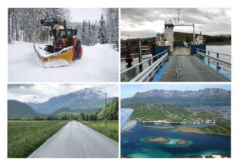 Folk bør være trygg for at bygdeveien i Trysil blir brøyta, ferga ikke blir for dyr til Årøya i Altafjorden, bussen til Beiarn går og at hurtigbåten anløper Helnessund i Steigen.