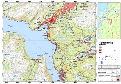 KART MED FAREGRAD: Kartet viser et utsnitt av Vefsn kommune nord for Mosjøen. Mørkerødt område indikerer høy risiko for leireskred. Området er Holandsvika. I et annet kart som NVE har på sin nettside står det at også Rabbembekken og Langstraumhaugen har høy risiko for leireskred.