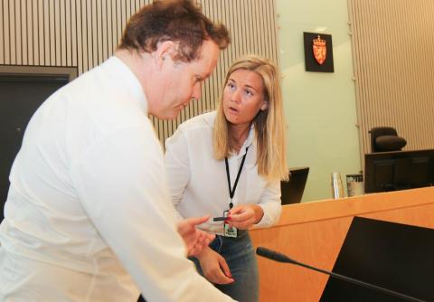 HOVEDETTERFORSKER: Aktor Arvid Malde og hovedetterforsker Martine Stene Pettersen da Jæren tingrett behandlet rettssaken mot den tidligere barnehagearbeideren i juni i fjor.