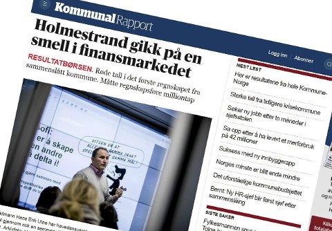 Får kritikk:  Kommunal Rapport får kritikk fra Holmestrand kommune for sitt oppslag om finanstap på 20 millioner kroner.                 faksimile av Kommunalrapport