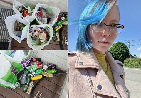 REAGERER: Lilith Ravn (27) reagerer på de enorme mengdene med forsøpling i nærområdet sitt, og har den siste tiden tatt saken i egne hender.
