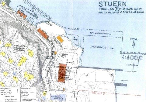 Skisse: Slik har sivilarkitekt Jan Abrahamsen skissert havnevesenets plan for Stueren og Stilnestangen Nord.