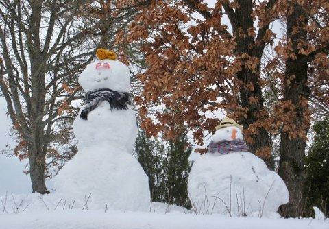 Meteorologenes værvarsel er gode nyheter for disse to snøfigurene, som står i Studsdalen. Det skal nemlig kommer mer snø, og det skal bli litt kaldere igjen. (Foto: Frank Haug)