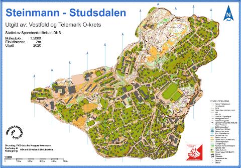 KART: Her kan man se kartet og hvor stolpene har blitt lagt ut på området rundt Steinmann og Studsdalen.