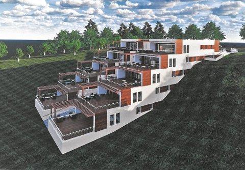 SKISSE: Om lag slik ser Bygger'n Teigen føre seg at det nye leilegheitskomplekset i Rustene-området kan koma til å sjå ut.