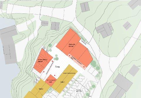 REINE: Slik ser planen ut for ny butikk og området rundt på Reine. Illustrasjon: Longva Arkitekter
