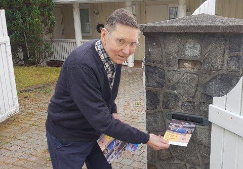 Jacob Birger Natvig (84) har delt ut valgkampmateriell for KrF i 74 år